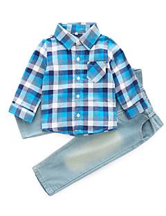 billige Tøjsæt til drenge-Drenge Daglig Ternet Tøjsæt, Bomuld Rayon Forår Efterår Langærmet Basale Blå Rød