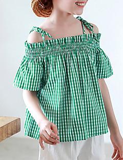 billige Pigetoppe-Børn Pige Houndstooth mønster Kortærmet T-shirt