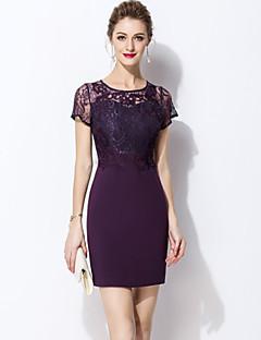 Χαμηλού Κόστους MORE BRANDS-Γυναικεία Βασικό Εφαρμοστό Φόρεμα - Μονόχρωμο Πάνω από το Γόνατο