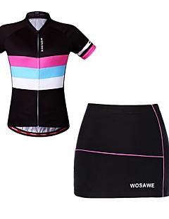 billige Sykkelklær-WOSAWE Kortermet Sykkeljersey med shorts - Svart Sykkel
