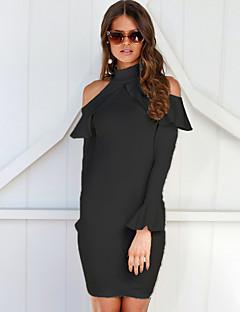 tanie Sukienki-Damskie Moda miejska Obcisłe Pochwa Sukienka - Jendolity kolor Z odsłoniętymi ramionami Przed kolano