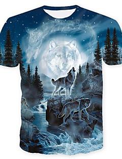 Χαμηλού Κόστους Αντρικά Ρούχα-Ανδρικά T-shirt Κρανίο Βασικό Ζώο Στάμπα Λύκος