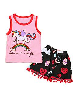 billige Tøjsæt til piger-Pige Daglig Sport Regnbue Tøjsæt, Bomuld Polyester Forår Sommer Uden ærmer Sødt Aktiv Lyserød