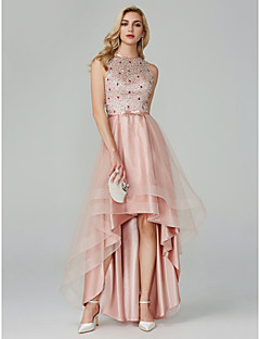 cheap Special Occasion Dresses-Ball Gown Jewel Neck Asymmetrical Satin / Tulle Cocktail Party / Homecoming / Prom Dress with Beading / Sequin / Bow(s) by TS Couture®