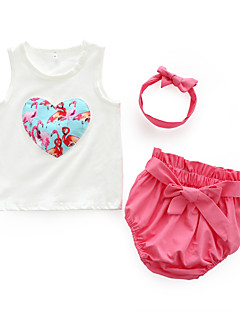 billige Sett med babyklær-Baby Pige Tøjsæt Daglig Blomstret, Bomuld Sommer Uden ærmer Sødt Lyserød Rosa