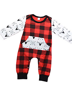 tanie Odzież dla chłopców-Dla chłopców Codzienny Prążki Pled Bluzka, Bawełna Wiosna Długi rękaw Podstawowy Czerwony