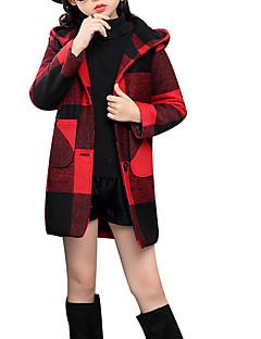 billige Pigetoppe-Pige Bluse Ruder, Polyester Vinter Langærmet Aktiv Sort Rød