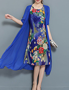 cheap Women's Dresses-Women's Plus Size Going out Chiffon Two Piece Dress - Floral Blue, Print