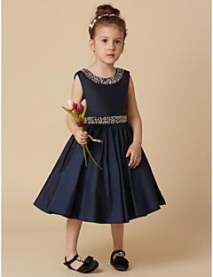 tanie Sukienki dla dziewczynek z kwiatami-Krój A Do kolan Sukienka dla dziewczynki z kwiatami - Tafta Bez rękawów Zaokrąglony z Koraliki / Broszka kryształowa przez LAN TING BRIDE®