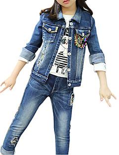 tanie Odzież dla dziewczynek-Jeansy Komplet odzieży Bawełna Dla dziewczynek Codzienny Patchwork Wiosna Jesień Długi rękaw Niebieski