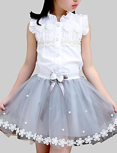billige Tøjsæt til piger-Pige Daglig Skole Blomstret Patchwork Tøjsæt, Rayon Polyester Sommer Uden ærmer Sødt Hvid