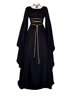 cosplay outfits medieval costume womens dress ball gown black vintage cosplay polyster long sleeve flare sleeve ankle length long length halloween costumes