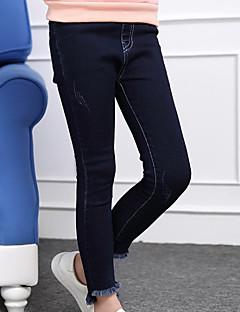 billige Bukser og leggings til piger-Børn Pige Ensfarvet Langærmet Bukser