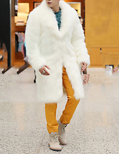Χαμηλού Κόστους Ανδρικά μπουφάν και παλτό-Ανδρικά Μακρύ Παλτό Βασικό - Μονόχρωμο, Βασικό Ψεύτικη Γούνα