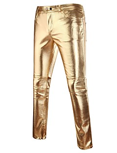 cheap Men's New Ins-Men's Punk & Gothic Slim Chinos Pants - Solid Colored Gold / Spring / Fall / Club