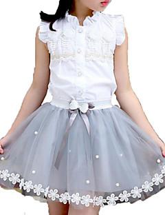 billige Tøjsæt til piger-Pige Daglig I-byen-tøj Ensfarvet Trykt mønster Tøjsæt, Bomuld Rayon Sommer Uden ærmer Sødt Aktiv Hvid