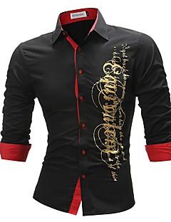 billige Herremote og klær-Skjorte Herre - Bokstaver Kamuflasje, Trykt mønster Forretning Grunnleggende