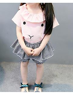 billige Babytøj-Baby Pige Ferie Ensfarvet Stribet Net Kortærmet Tøjsæt