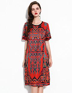 Χαμηλού Κόστους YHSP-Γυναικεία Εκλεπτυσμένο Κομψό στυλ street Γραμμή Α Σιφόν Swing Φόρεμα - Φλοράλ, Σκίσιμο Στάμπα Μίντι