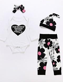 billige Sett med babyklær-Baby Unisex Blomstret Langærmet Tøjsæt