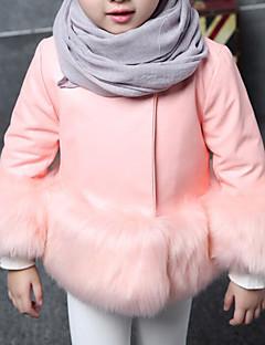 billige Jakker og frakker til piger-Pige Jakke og frakke Ensfarvet, Imiteret pels PU Speciel pelstype Vinter Langærmet Blå Sort Lyserød