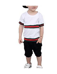 tanie Odzież dla chłopców-Dla chłopców Codzienny Prążki Komplet odzieży, Poliester Lato Krótki rękaw Podstawowy White Black