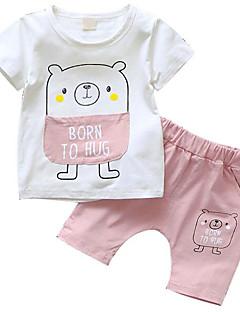 billige Sett med babyklær-Baby Pige Trykt mønster Patchwork Kortærmet Tøjsæt
