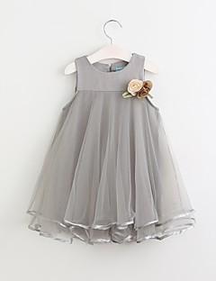 tanie Odzież dla dziewczynek-Sukienka Bawełna Dziewczyny Codzienny Jendolity kolor Lato Bez rękawów Urocza Blushing Pink Gray