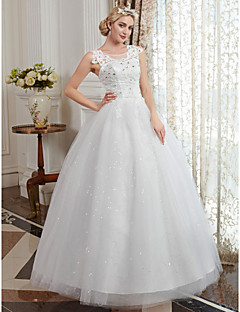 cheap Wedding Dresses-Ball Gown Scoop Neck Floor Length Tulle / Beaded Lace Made-To-Measure Wedding Dresses with Appliques by LAN TING BRIDE®