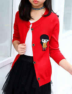 cheap Girls' Sweaters & Cardigans-Girls' Solid Sweater & Cardigan, Cotton Fall All Seasons Long Sleeves Cute Black Red Fuchsia
