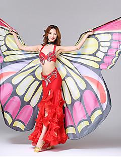 billiga Dansaccessoarer-Danstillbehör Vacker tjej Rekvisita Dam Prestanda Polyester Fjärilsdesign Tryck Vågliknande Butterly Theme Mode