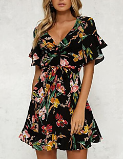 cheap Women's Dresses-Women's Flare Sleeve Slim Sheath Dress - Floral Black, Print High Waist V Neck