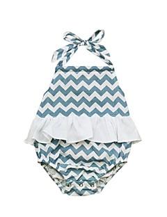 billige Babytøj-Baby Pige En del Strand Ferie Stribet Patchwork, Bomuld Forår Sommer Uden ærmer Sødt Aktiv Lyseblå