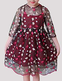 tanie Odzież dla dziewczynek-Sukienka Rayon Poliester Dziewczyny Codzienny Kwiaty Wiosna Lato Rękaw 3/4 Urocza Clover Wine