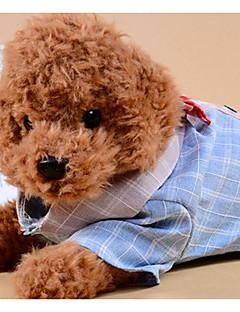 billiga Hundkläder-Hund Katt T-shirts Hundkläder Färgblock Pläd / Rutig Rosett Grå Blå Tyg Kostym För husdjur Herr Ledigt / vardag Rosett