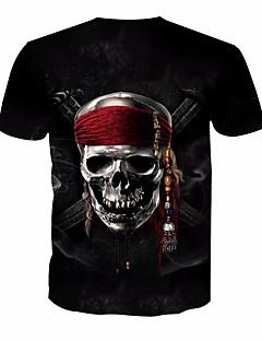 baratos -Homens Camiseta Básico Estampado, Caveiras Decote Redondo / Manga Curta