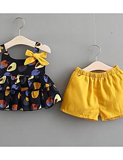 billige Sett med babyklær-Baby Pige Trykt mønster Tunika / Sløjfer Uden ærmer Tøjsæt