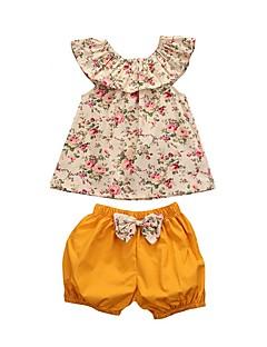 billige Tøjsæt til piger-Børn Baby Pige Blomstret Uden ærmer Tøjsæt