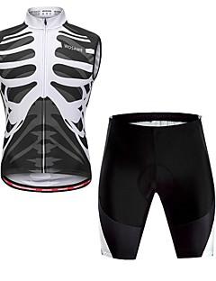 billige Sykkelklær-WOSAWE Herre Langermet Sykkeljersey med shorts - Svart / Hvit Sykkel Vest / Fôrede shorts, Fort Tørring, Refleksbånd