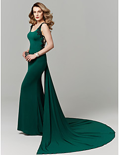 cheap Wedding Guest Dresses-Mermaid / Trumpet Scoop Neck Chapel Train Jersey Cocktail Party / Prom / Formal Evening / Black Tie Gala / Holiday Dress with Appliques by