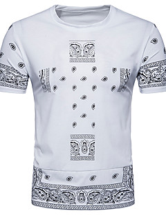cheap Men's Tees & Tank Tops-Men's Street chic T-shirt - Geometric Round Neck / Short Sleeve