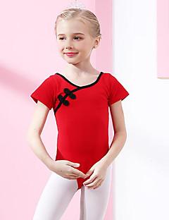 billige Ballettantrekk-Ballett Trikoter Jente Trening Ytelse Bomull Sløyfe(r) Kortermet Naturlig Trikot / Heldraktskostymer