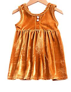 tanie Odzież dla dziewczynek-Sukienka Bawełna Poliester Dziewczyny Codzienny Urlop Jendolity kolor Lato Bez rękawów Urocza Gold Blushing Pink