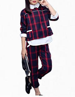 billige Tøjsæt til piger-Pige Daglig Ternet Tøjsæt, Bomuld Alle årstider Langærmet Ternet Rød Grøn