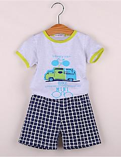 billige Tøjsæt til drenge-Drenge Daglig Ensfarvet Trykt mønster Tøjsæt, Bomuld Sommer Kortærmet Aktiv Lyseblå Lysegrå