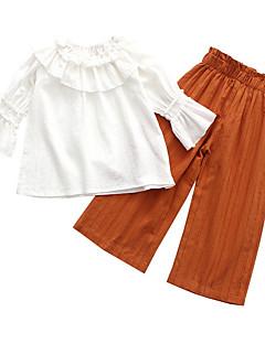 billige Tøjsæt til piger-Pige Daglig Ensfarvet Tøjsæt, Bomuld Spandex Forår Efterår 3/4-ærmer Sødt Sort Army Grøn Kakifarvet