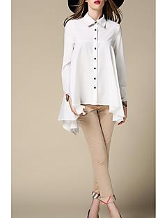 billige Skjorte-Krave Dame - Ensfarvet Bomuld / Polyester Basale Skjorte