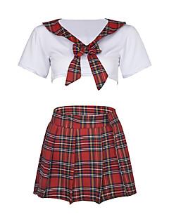 billige Nattøy til damer-Dame Uniformer og kinesiske kjoler Nattøy - Fargeblokk, Flettet
