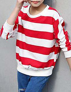 billige Hættetrøjer og sweatshirts til piger-Pige T-shirt Stribet, Bomuld Rayon Forår Efterår Simple Sort Rød