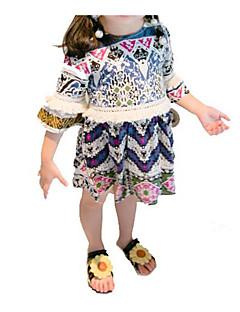 billige Babykjoler-Baby Pige Blå & Hvid Trykt mønster Halvlange ærmer Kjole